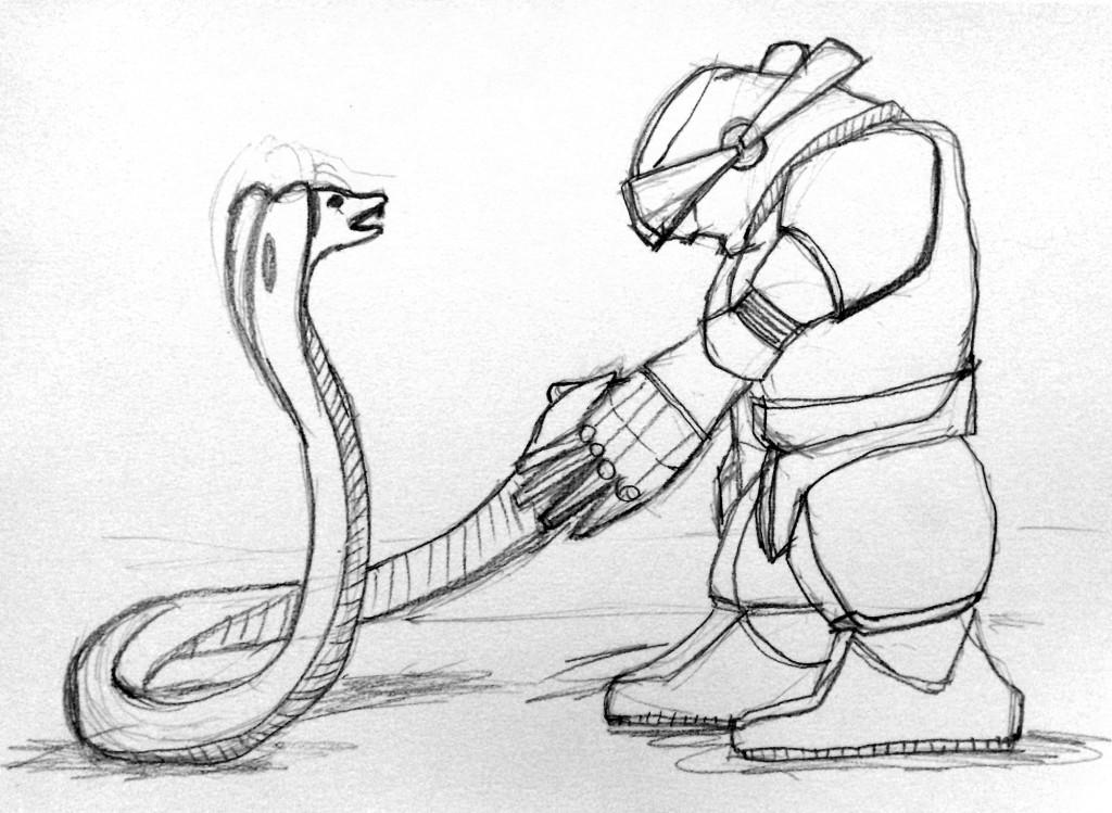robot meets snake