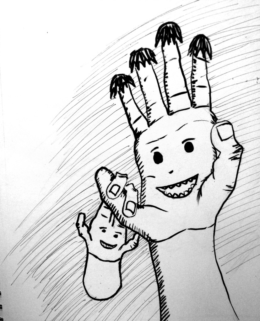odd hands with kid