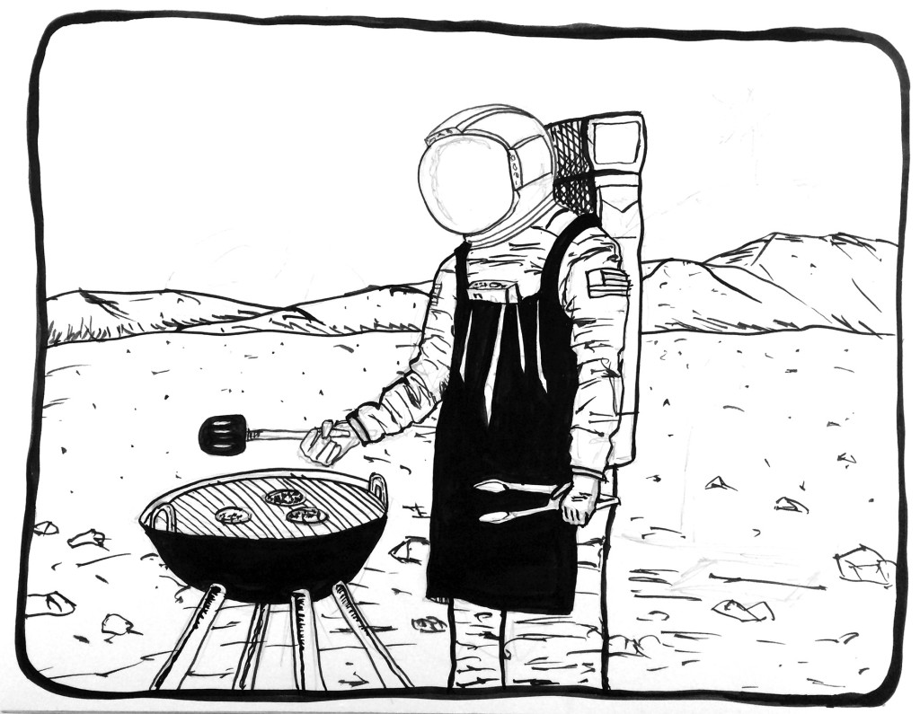 astronaut cooking burgers