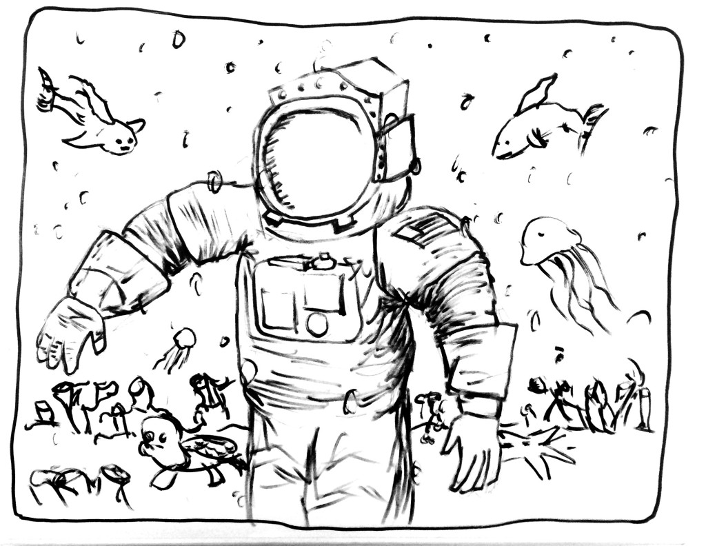 astronaut swimming with the fishes