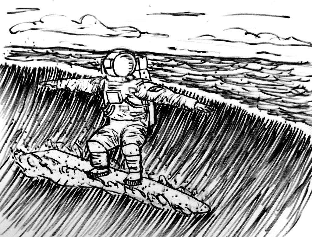 surfing astronaut